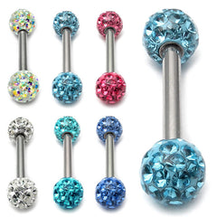 Smooth Glitzy Ball Barbell Double Ended with 5mm balls