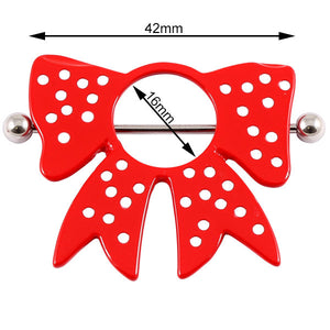 Polka Dot Red Bow Nipple Surround with Bar