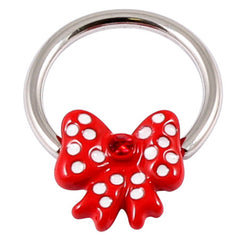 view all Acrylic Polka Dot Red Bow on Steel BCR - Nipple Ring body jewellery