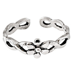 view all 925 Sterling Silver Flower Twist Toe Ring body jewellery