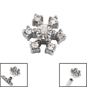Steel Jewelled Snowflake for Internal Thread shafts in 1.6mm (1.2mm). Also fits Dermal Anchor