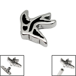 Steel Flying Swallow for Internal Thread shafts in 1.6mm (1.2mm). Also fits Dermal Anchor