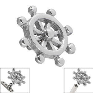 Steel Nautical Ships Wheel for Internal Thread shafts in 1.6mm (1.2mm). Also fits Dermal Anchor