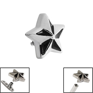 Steel Nautical Star for Internal Thread shafts in 1.6mm (1.2mm). Also fits Dermal Anchor