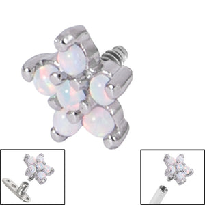 Steel 5 Point Opal Flower for Internal Thread shafts in 1.6mm (1.2mm). Also fits Dermal Anchor