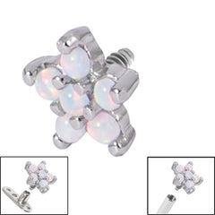 view all Steel Claw Set 5 Point Opal Flower for Internal Thread shafts in 1.6mm. Also fits Dermal Anchor body jewellery