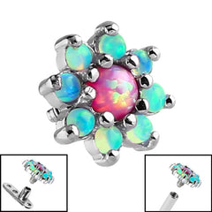 view all Steel Claw Set 8 Point Opal Flower for Internal Thread shafts in 1.6mm. Also fits Dermal Anchor body jewellery