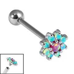 Titanium Internally Threaded Barbells 1.6mm - 8 point Opal Flower