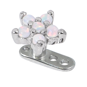 Titanium Dermal Anchor with Claw Set 5 point Steel Opal Flower Top