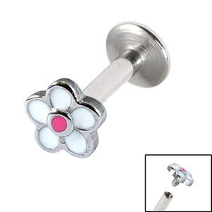 Titanium Internally Threaded Labrets 1.6mm - Daisy Flower