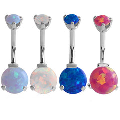 view all Belly Bar - Internal Thread Claw Set Opal body jewellery