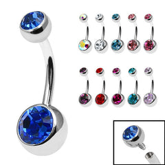 view all Titanium Internal Thread Double Jewelled Belly Bar body jewellery