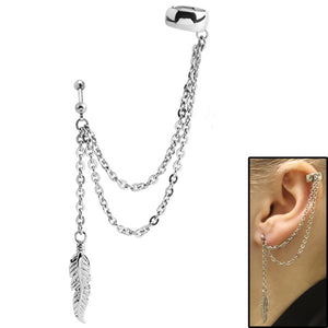Surgical Steel Double Chain Drop Ear Cuff - Feather