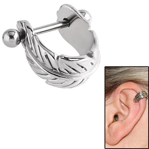 Surgical Steel Ear Shield - Feather Curl