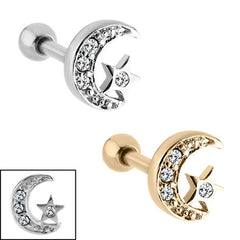 Steel Jewelled Star And Moon Tragus Bar