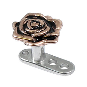 Titanium Dermal Anchor with Rose Gold Rose Flower