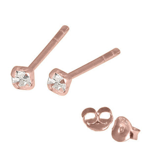 Rose Gold Plated Silver Claw Set Jewelled Studs RG-ST11, 12, 13