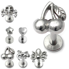 view all Steel Labret with Cast Steel Attachment 1.2mm body jewellery