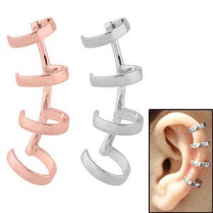 Surgical Steel Clip On Ear Cuff - Curved 4 Ring