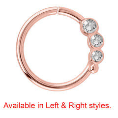 Rose Gold Steel Triple Jewelled Continuous Rings (Rose Gold colour PVD)