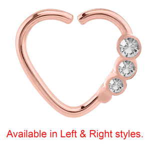Rose Gold Steel Triple Jewelled Continuous Heart Twist Ring