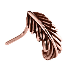 Rose Gold Steel Nose Stud Feather Curl