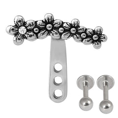 view all Steel Helix Ear Jacket - Daisy Flower body jewellery
