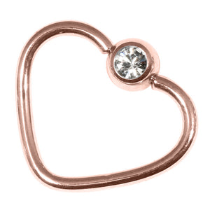 Rose Gold Steel Jewelled Continuous Heart Twist Ring