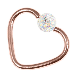 Rose Gold Steel Glitzy Continuous Heart Twist Ring