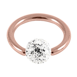 Rose Gold Steel BCR with Smooth Glitzy Ball 1.2mm