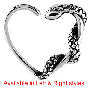 Steel Snake Continuous Heart Twist Rings