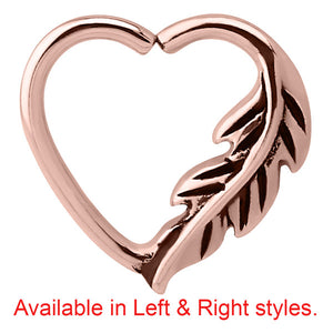 Rose Gold Steel Feather Continuous Heart Twist Ring
