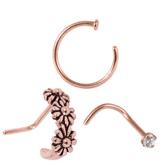 Multipack - Rose Gold Steel Nose Curl, Ring and Stud Set 0.8mm