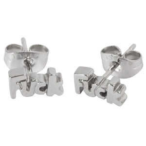 Steel Ear Stud Earrings with Fuck Word