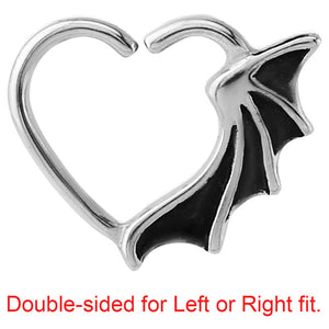 Steel Bat Wing Continuous Heart Twist Ring