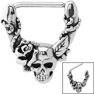 Steel Skull with Rose Nipple Clicker Ring