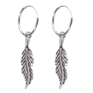 Sterling Silver Hoops - Earrings with Drop Feather H142