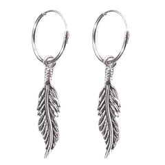 view all Sterling Silver Hoops - Earrings with Drop Feather H142 body jewellery