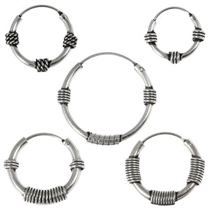 Sterling Silver Hoops - Earrings  H83-H95