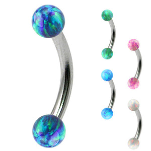 Steel Micro Curved Barbell with Synthetic Opal Balls 1.2mm