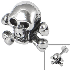 Steel Threaded Attachment - 1.2mm and 1.6mm Cast Steel Skull and Crossbones