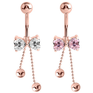 Belly Bar - Rose Gold Steel Cute Jewelled Bow with Dangly Chains