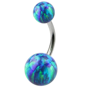 Belly Bar - Steel with Opal Balls