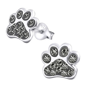 Sterling Silver Cute Jewelled Paw Print Ear Stud Earrings