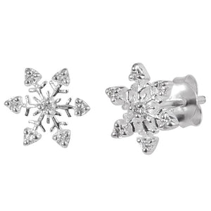 Sterling Silver Jewelled Snowflake Ear Stud Earrings