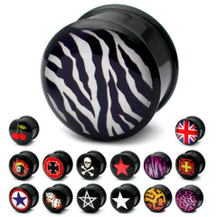 view all Acrylic Logo Plugs 6-14mm body jewellery