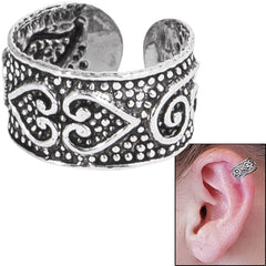 view all 925 Sterling Silver Clip On Ear Cuff - Tribal Hearts SEC1 body jewellery