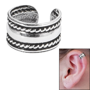 925 Sterling Silver Clip On Ear Cuff - Plain Band with Rope SEC3