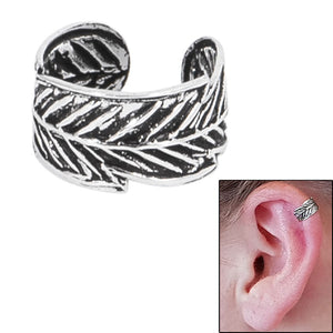 925 Sterling Silver Clip On Ear Cuff - Feather SEC5