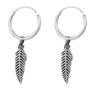 Sterling Silver Hoops - Earrings with Drop Feather H145